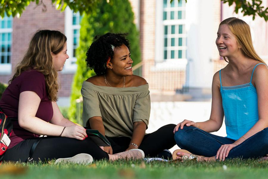 Three students sit under a tree on the grass and have a philosophical discussion.