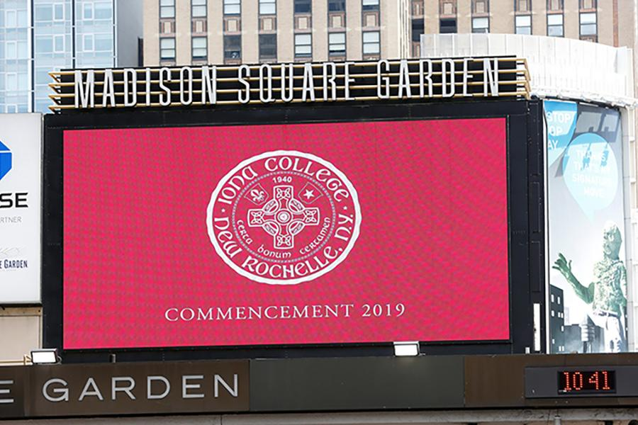 The 2019 commencement marquee at Madison Square Garden.