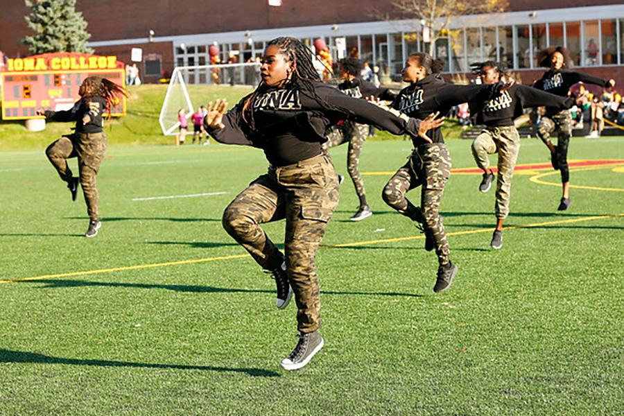 Members of the Black Student Union perform on Mazzella Field.