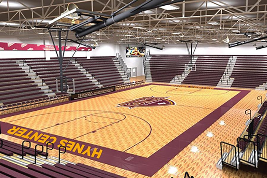 A computer generated image of the improved Hynes Center baskteball court.