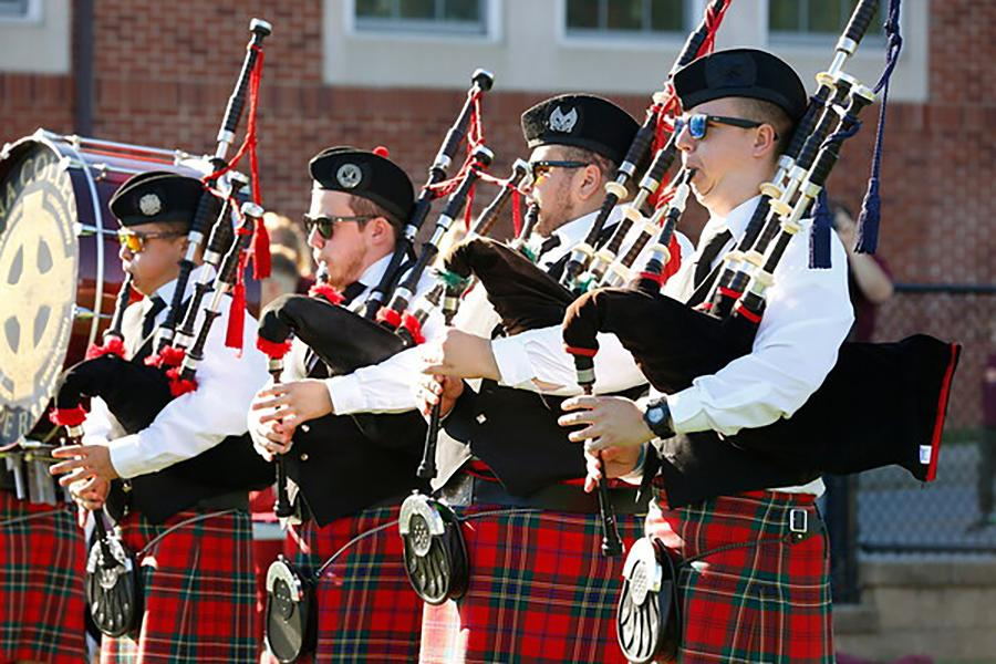 The Pipe band performs on Mazzella Field.
