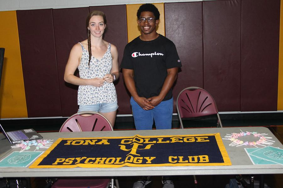 The Psychology Club co-presidents at their table at the involvement fair.
