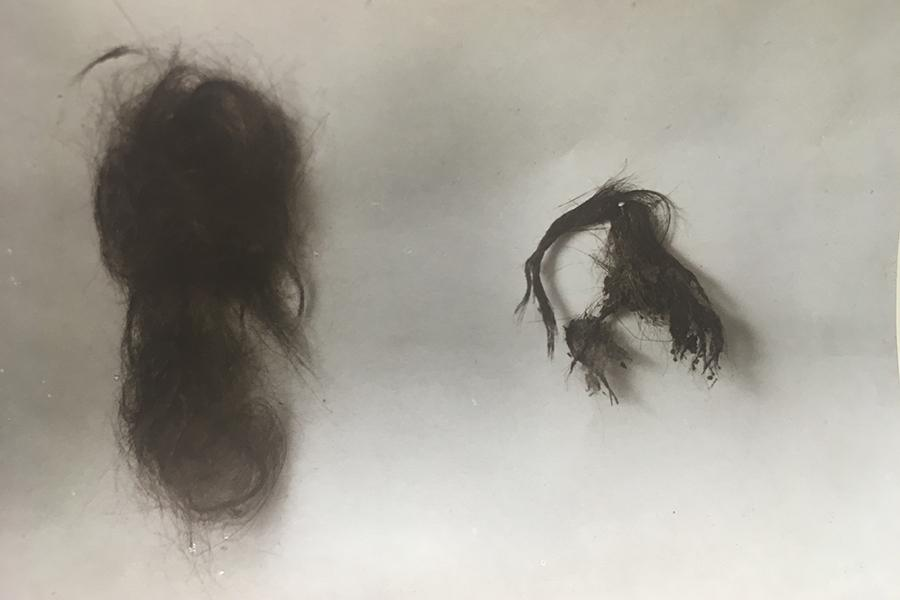 Two pieces of Thomas Paine's hair from the ITPS archives.
