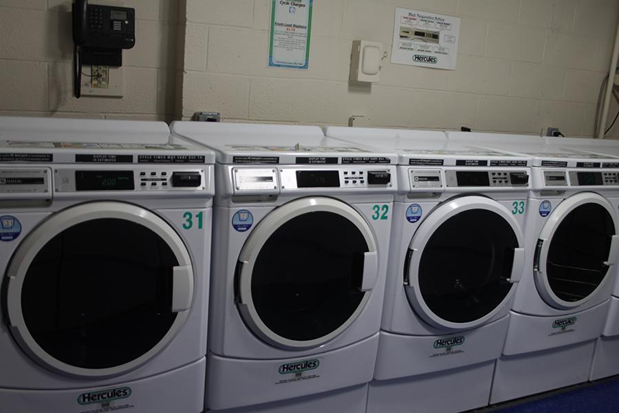 The washers in the Laundry Room at Rice Hall.