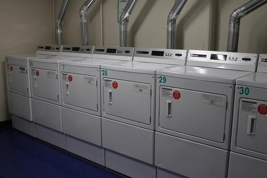 The dryers in the Laundry Room at Rice Hall.