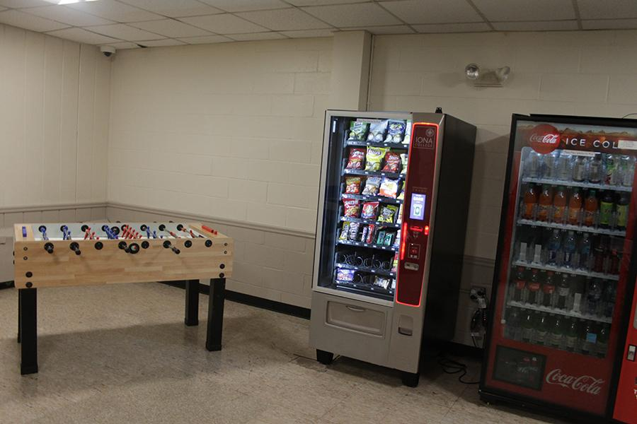 The foosball table and vending machines in Rice Hall.