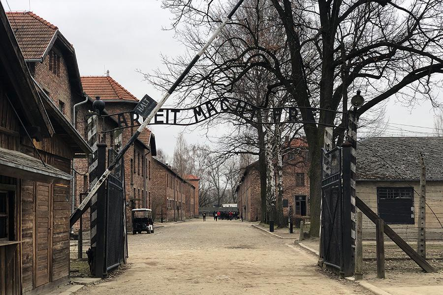 The gates of the concentration camp in Auschwitz, Poland.