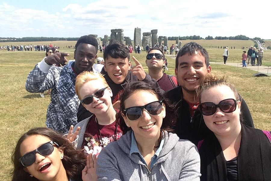Iona students at Stonehenge in England.