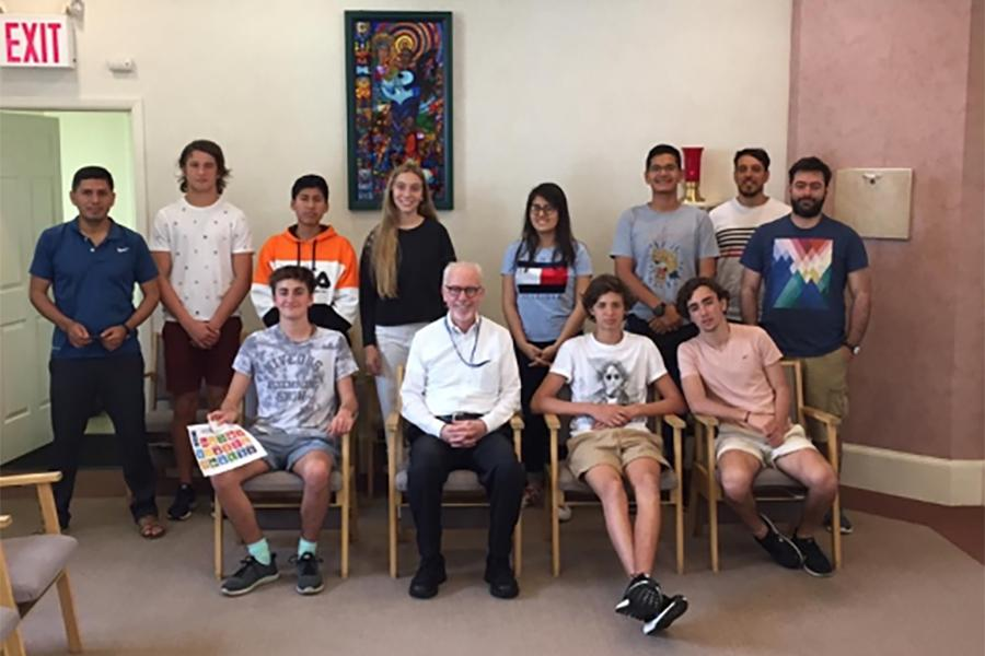 Students and Teachers from Latin America with Br. Kevin Cawley.