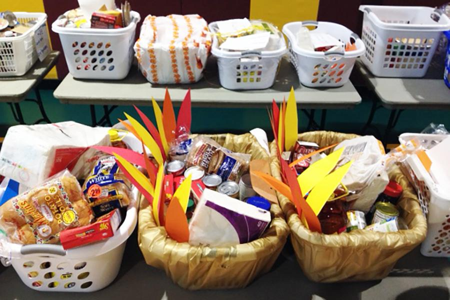 Baskets filled with food to donate for Thanksgiving.