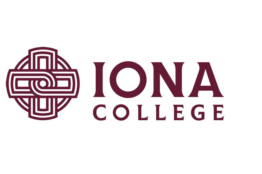 Iona College logo and text in all maroon.
