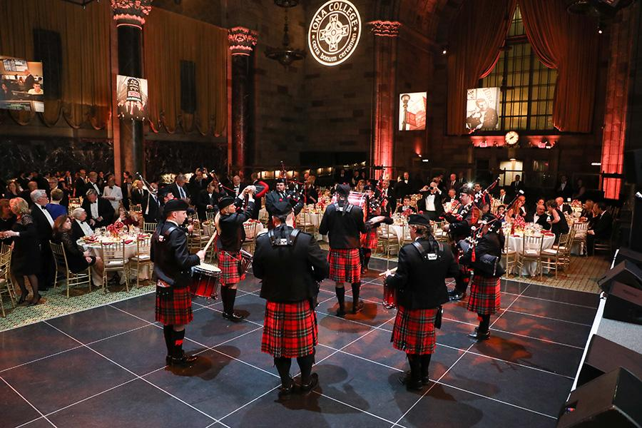 The pipers perform at the gala.