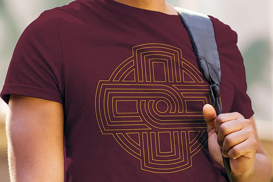 A t-shirt with the outline of the Iona College logo on it.