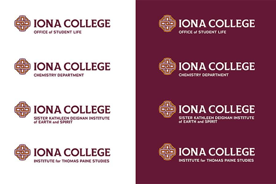 The Iona College logo and text with several departments listed.