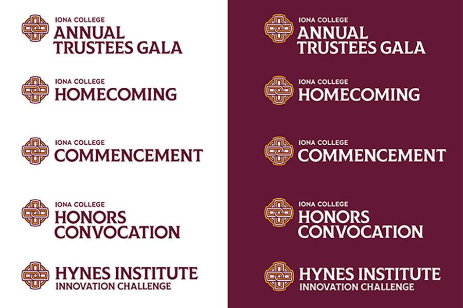 Headers using the Iona College logo featuring several campus events.
