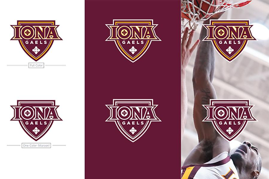 Examples of using the Iona Gael Athletics logo.