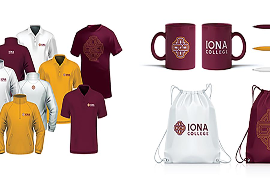 Iona gear including sports gear, mugs, pens, and drawstring bags.
