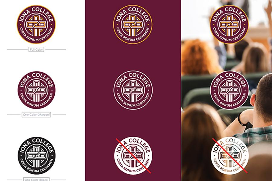Several examples of the Iona College contemporary seal, including both acceptable and unacceptable usages.
