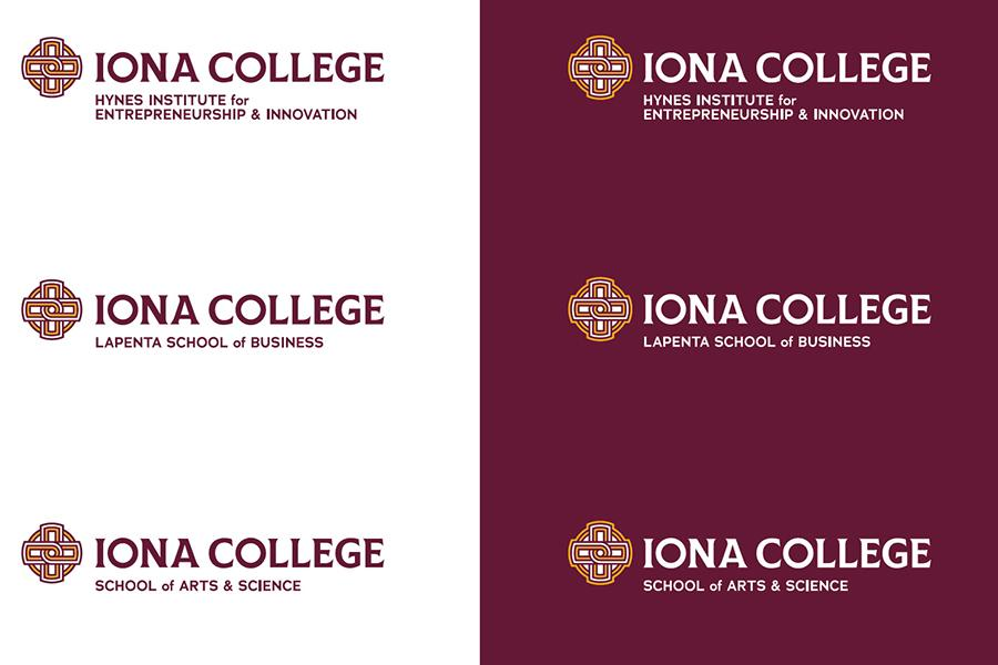 Examples of the Iona College logo headers using the School of Arts and Science, the LaPenta School of Business and the Hynes Institute for Entrepreneurship and Innovation.