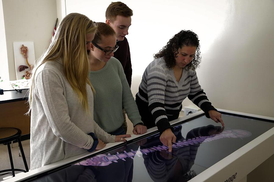 A professor shows some biochemistry students a 3D model of a human spine.