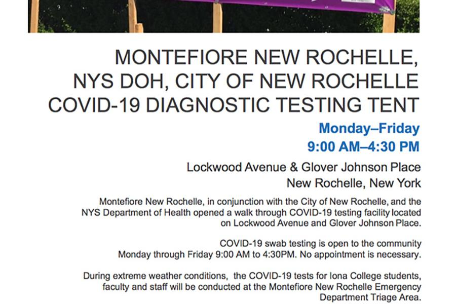 A flyer for the Montifiore New Rochelle Covid-19 testing site.