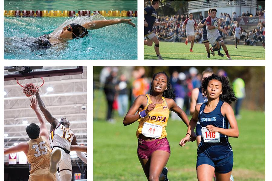 A montage of images featuring activities related to athletics.