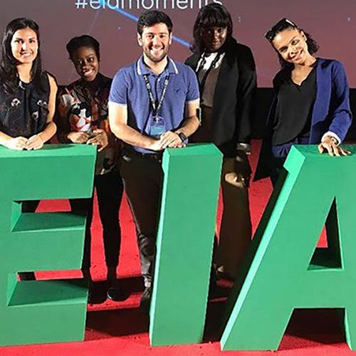 Five Iona College students at the 2018 European Innovation Academy (EIA).