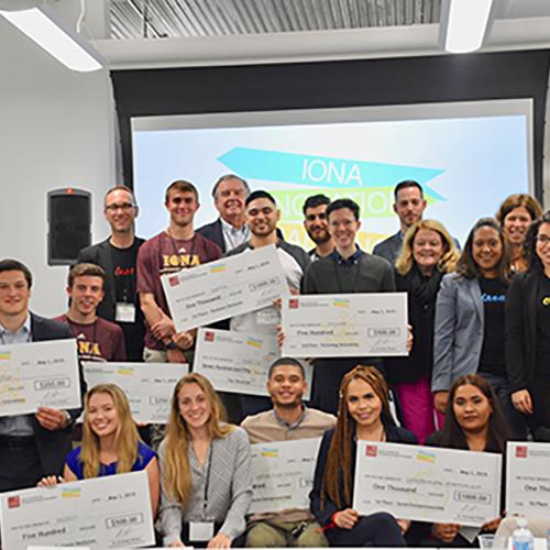 The 2019 Iona Innovation winners, judges and participants.