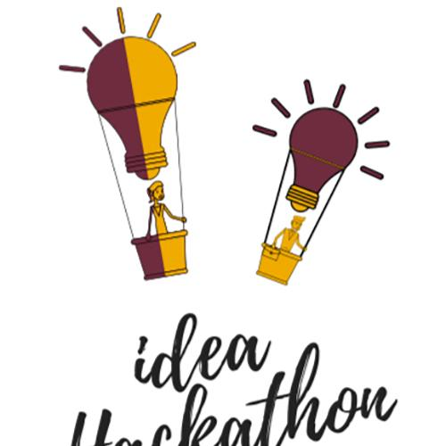 A cartoon of two hot air balloons which are also lightbulbs with the words Idea Hackathon written underneath.