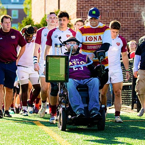 Patrick Quinn'06 leads the Iona Rugby team onto Mazzella Field