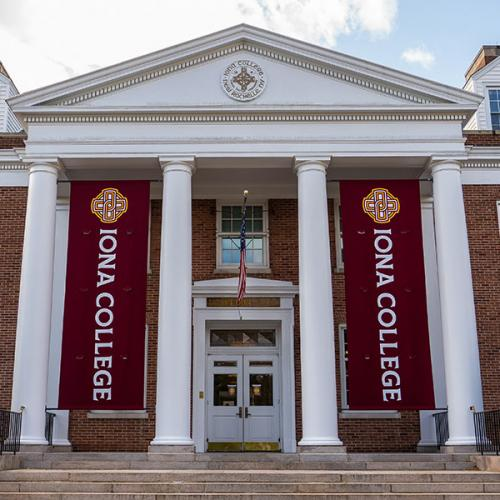 McSpedon Hall with the new banners.