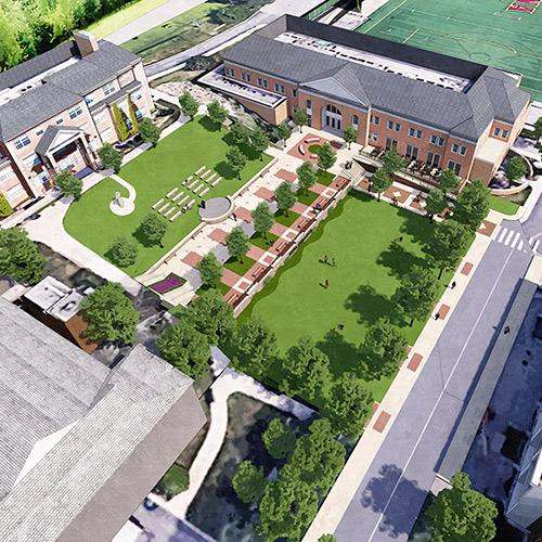Artist's rendering of an overhead view of the new Murphy greenspace.