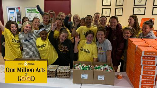 Students celebrate One Million Acts of Good sponsored by Ellen Degeners and Cheerios.