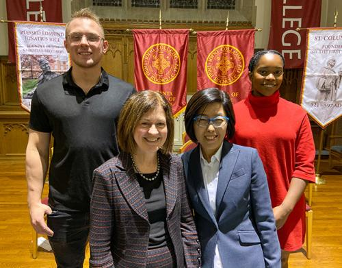 Iona College Students Inducted into Delta Epsilon Sigma National Scholastic Honor Society. Left to right, Jakub Korek '20; Darcy M. Katris, Esq., '82; Sunghee Lee, Ph.D.; and Lucia Antoine '20.