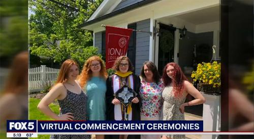 Fox 5 shows Hannah McGowan standing with her family outside of their house to celebrate Iona's 2020 Virtual Commencement.