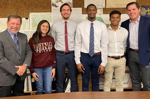 Iona students present to New Rochelle Parks & Recreation in December 2019.