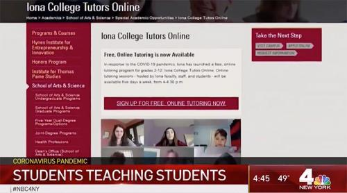 Iona College's free, online tutoring program was recently featured on NBC Channel 4.