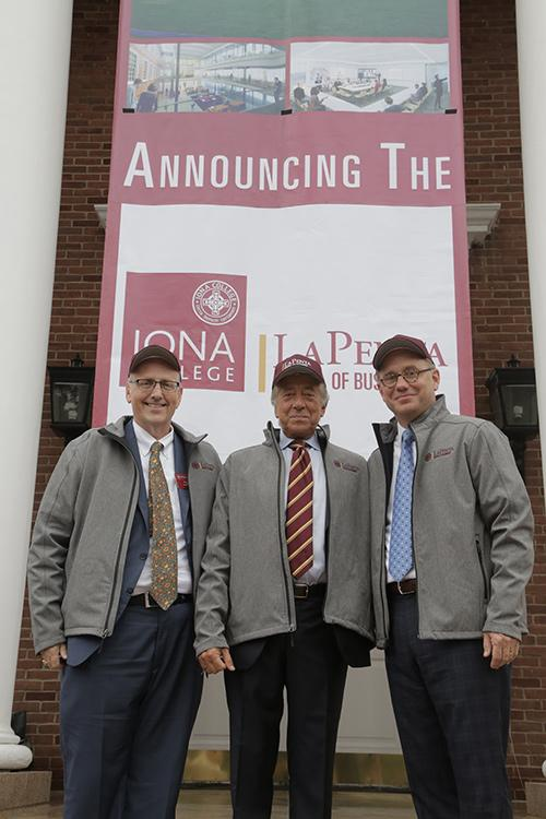Dean Lamb, Robert LaPenta and President Nyre at the announcement ceremony for the LaPenta School of Business.
