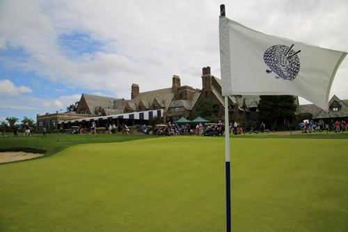 A flag waves in the breeze at the 2019 winged foot golf club fundraiser.