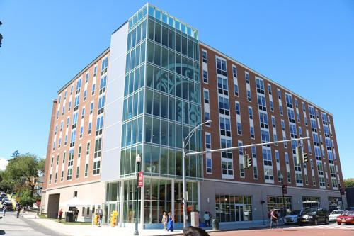 The North Avenue Residence Hall features a large glass window and faces North Avenue.