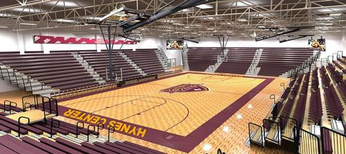 An artist's rendering of the improvements for the Hynes Center Basketball court.