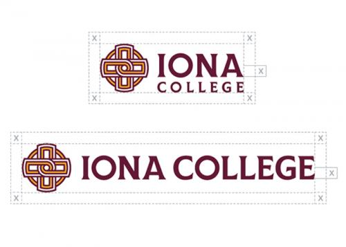 Two exaples of the Iona College logo with margins of blank space around them.