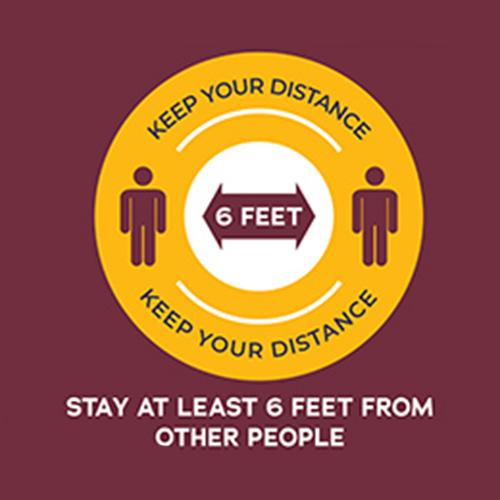 A graphic encouraging people to social distance with 6 feet between them.