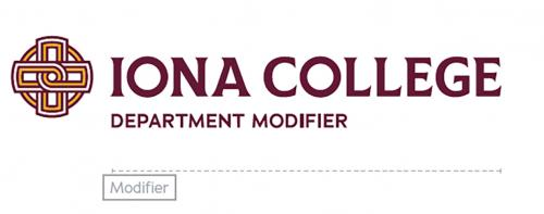 A sample header of the Iona College logo for academic departments.