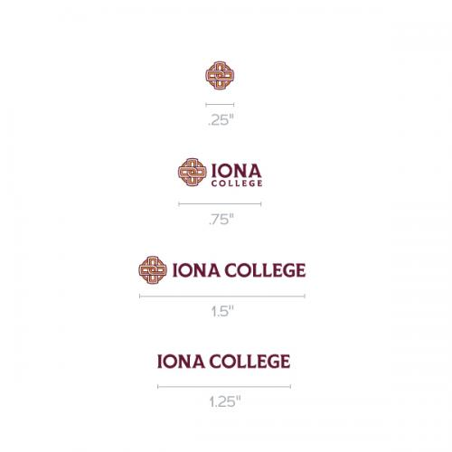 Samples of the Iona College logos in different sizes.