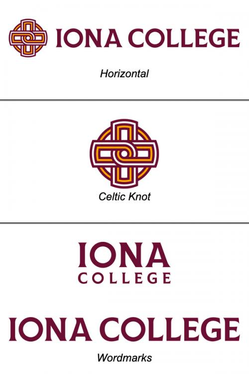 Examples of different versions of the Iona College logo.
