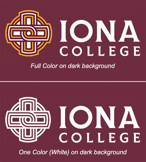 The full color and single color logos on a maroon background.
