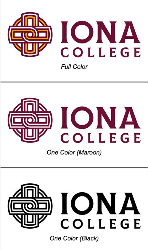 The Iona College logo in full color, in maroon, and in black.