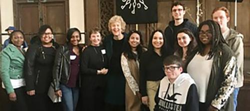 Iona students and Sister Kathleen Deignan pose with Dr. Mary Evelyn Tucker.