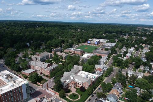 Aerial shot of the Iona Campus with New Rochelle in the background.